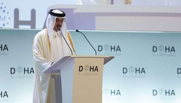 "His Highness the Amir Sheikh Tamim bin Hamad Al-Thani opens Doha Forum 2019 under the theme ""Re-imag"