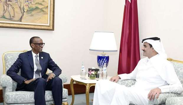 His Highness the Amir Sheikh Tamim bin Hamad Al-Thani met with the President of the Republic of Rwan