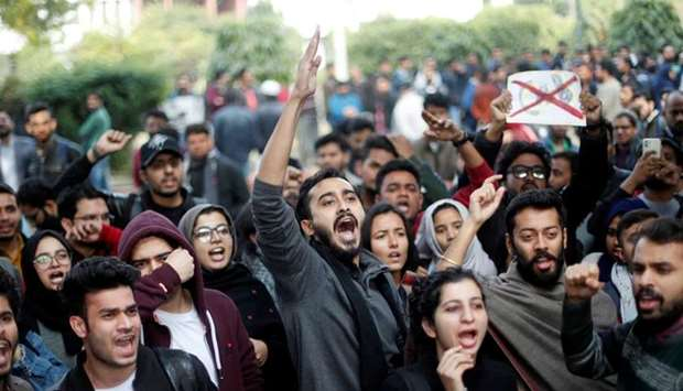 Protesters shout slogans during a protest against the Citizenship Amendment Bill