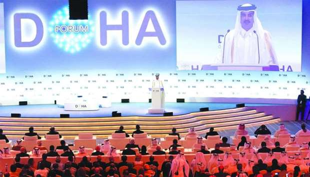 His Highness the Amir Sheikh Tamim bin Hamad al-Thani addressing the inaugural session of Doha Forum