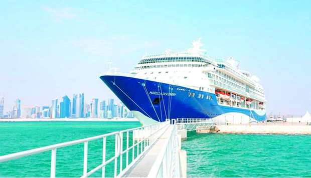 Luxury cruise ship Marella Discovery docked at Doha Port.