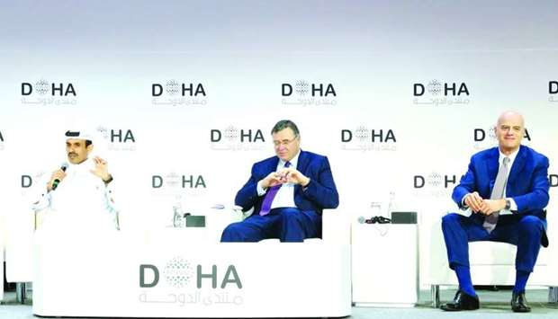 HE al-Kaabi with Pouyanné and Descalzi at a panel discussion at the Doha Forum 2019.