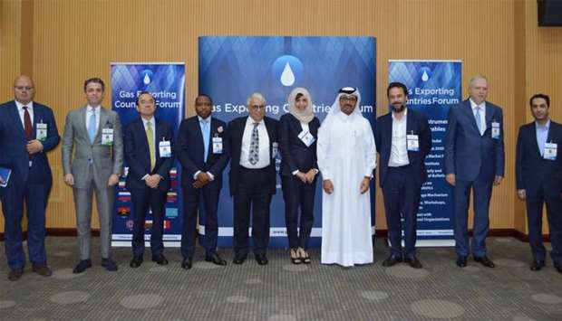 HE Dr al-Sada with experts at at the workshop organised by the Gas Exporting Countries Forum in Doha