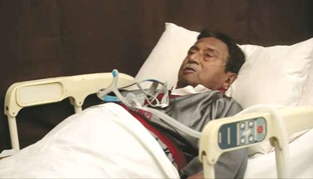This image taken from video shows Musharraf in a Dubai hospital.