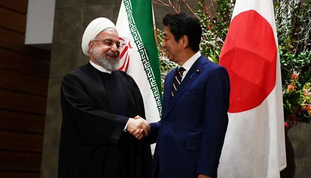 Japanese Prime Minister Shinzo Abe and Iranian President Hassan Rouhani meet in Tokyo