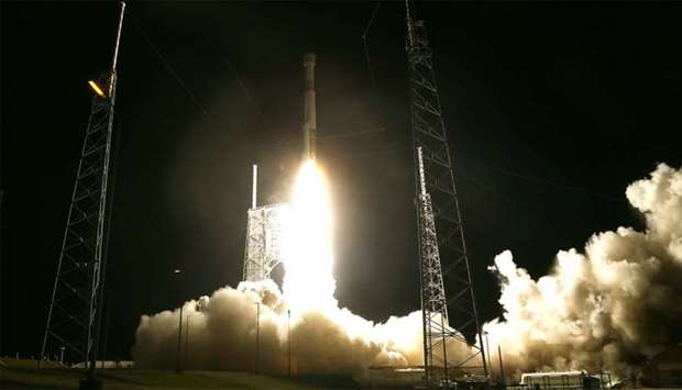 The United Launch Alliance Atlas V rocket, topped by a Boeing CST-100 Starliner spacecraft, lifts of
