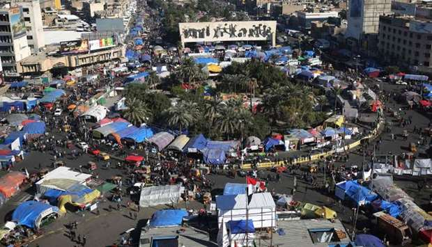 Iraqi demonstrators gather at Tahrir square in the capital Baghdad