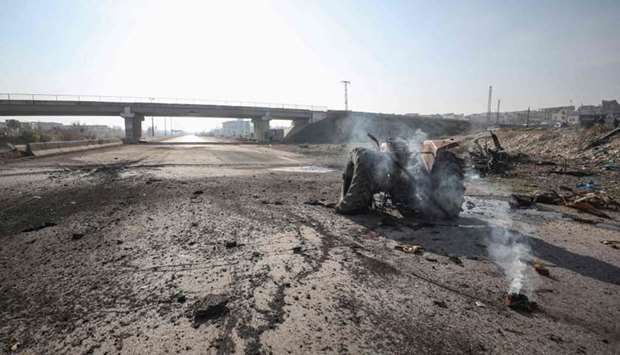 The aftermath of a Russian air strike on Damascus-Aleppo Highway near Maaret al-Numan in Syria's sou