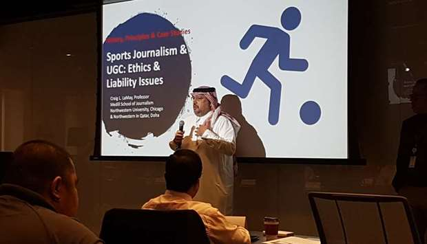 Gulf Times editor-in-chief Faisal Abdulhameed al-Mudahka speaking at the opening of the four-day mas