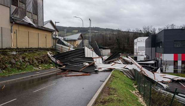 Collapsed roof of the theater Le Firmament in Firminy, near Saint-Etienne, central-eastern France