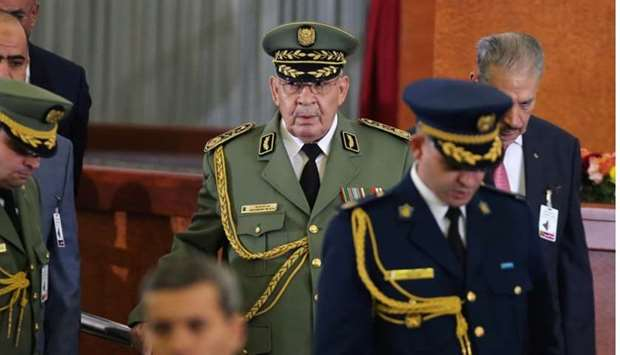 Algeria's army chief Lieutenant-General Ahmed Gaed Salah attends the swearing-in ceremony of the new