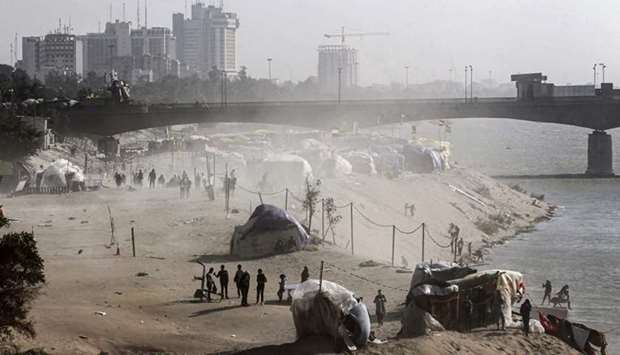 Tents in a sit-in along the Tigris river near the Senak bridge erected by anti-government protesters