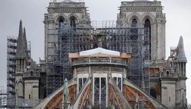 General view shows the Notre Dame Cathedral, as works continue to stabilise the cathedral's structur