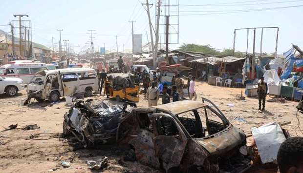 A general view shows the scene of a car bomb explosion at a checkpoint in Mogadishu, Somalia
