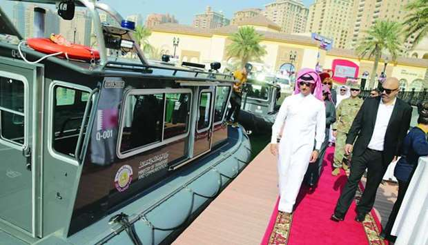 Dr Saleh bin Fetais al-Marri inspecting a monitoring vessel ahead of the launch of the project.