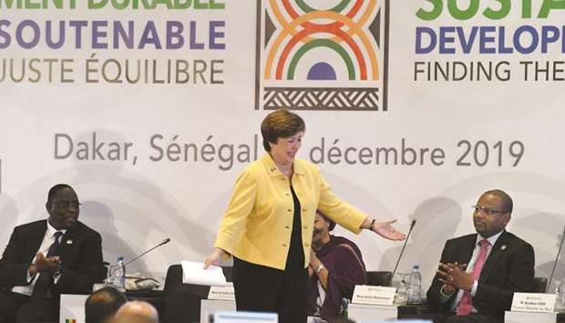Georgieva gestures during a conference co-organised by the IMF at the Abdou Diouf de Diamniadio conf