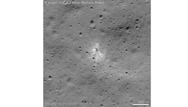 This handout image released by NASA, and taken by the Lunar Reconnaissance Orbiter Camera team shows