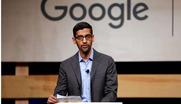 Google CEO Sundar Pichai speaks during signing ceremony committing Google to help expand information