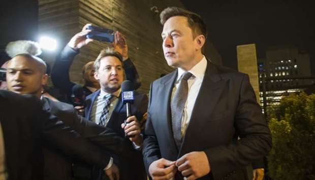 Elon Musk, chief executive officer of Tesla Inc. leaves the US District Court, Central District of C