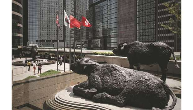 Bull statues displayed outside the Hong Kong Stock Exchange. The Hang Seng index closed down 1.3% to