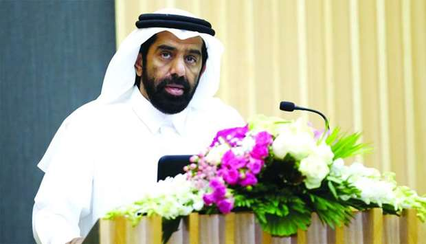 HE the President of Planning and Statistics Authority, Dr Saleh bin Mohamed al-Nabit, speaking at th