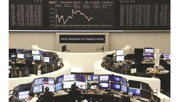 The German share price index DAX graph is seen at the Frankfurt Stock Exchange. The DAX 30 lost 0.7%