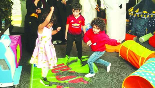 Children spend time in the sensory room at Khalifa International Stadium.