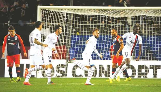 Paris St Germain's Neymar (third right) celebrates after scoring against Montpellier in the Ligue 1