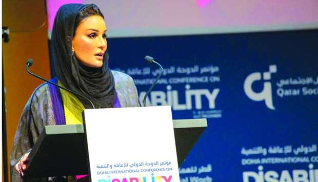 Her Highness Sheikha Moza bint Nasser, Founder of Qatar Foundation for Social Work, addressing  the