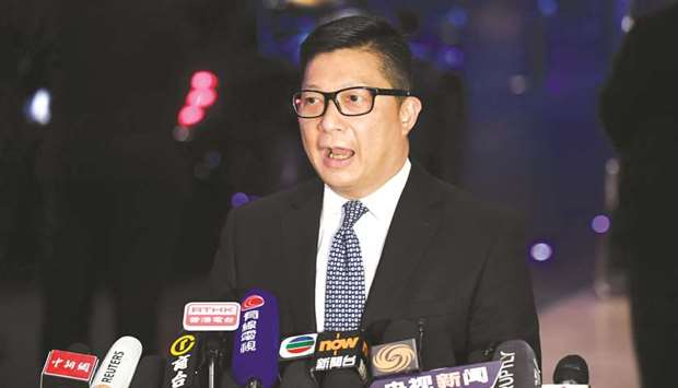 Hong Kong police chief Tang Ping-keung speaks to media after meetings with Chinese officials in Beij