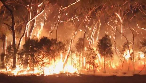A fire blazes across bush in Newnes Plateau, New South Walles, Australia