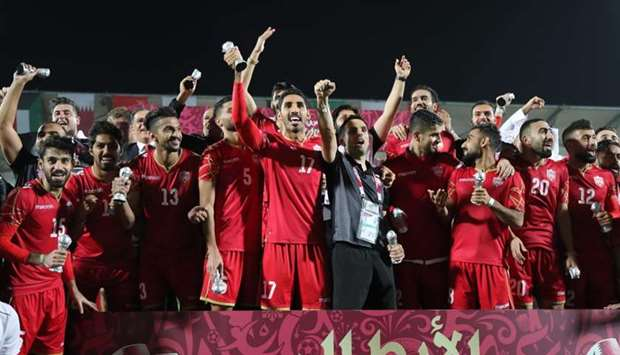 ahrain's players celebrate after winning the 24th Arabian Gulf Cup