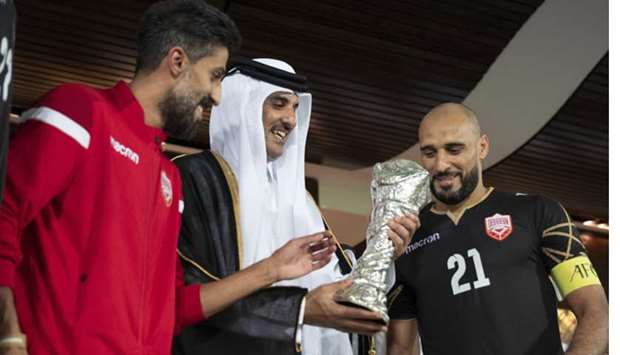 His Highness the Amir Sheikh Tamim bin Hamad Al-Thani crowns the national football team of the Kingd