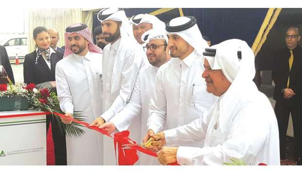 HE Sheikh Faisal bin Qassim al-Thani and Sheikh Mohamed among others during the local production lau