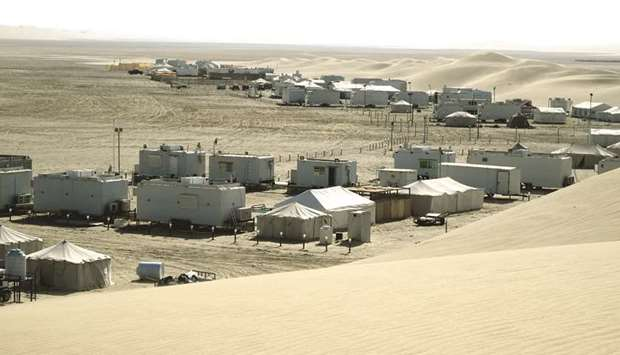 A view of winter camps set up in a coastal location in Qatar.