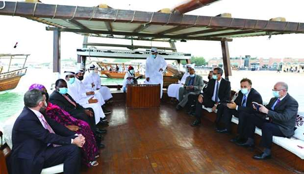 Dignitaries and guests taking a dhow ride to mark the opening of the festival at Katara Tuesday.