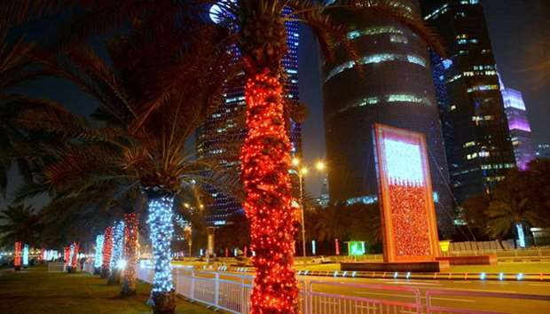 Beautiful illuminations have lit up Doha Corniche as part of the Qatar National Day celebrations.