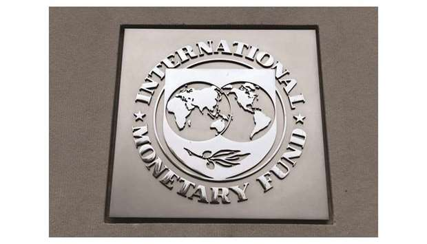 The International Monetary Fund (IMF) logo is seen at the IMF headquarters building