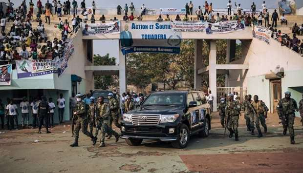 The motorcade of the President of the Central African Republic, arrives at the 20,000-seat stadium,