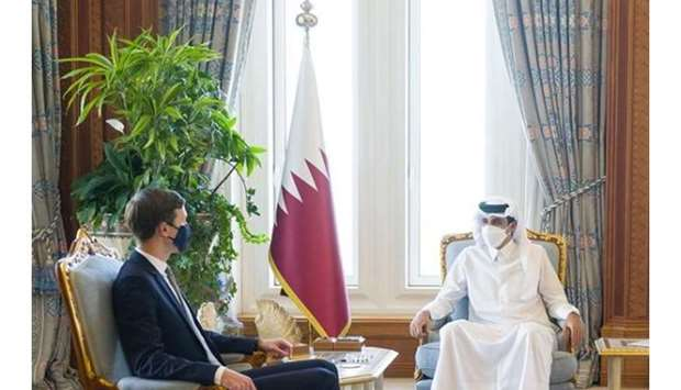 The meeting dealt with reviewing the strategic bilateral cooperation between the State of Qatar and