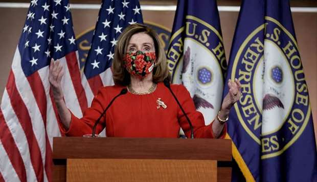 Speaker of the House Nancy Pelosi, D-CA., speaks to reporters on an agreement of a coronavirus disea