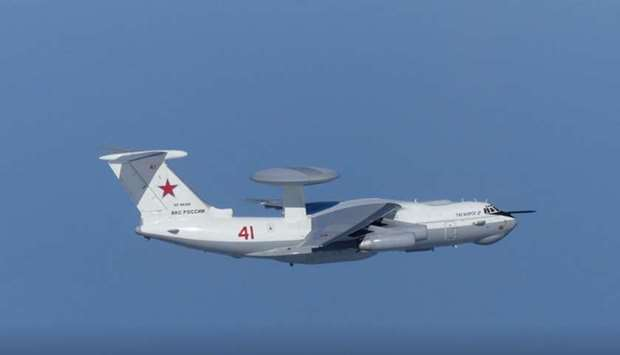 A Russian A-50 military aircraft flies near the disputed islands called Takeshima in Japan and Dokdo