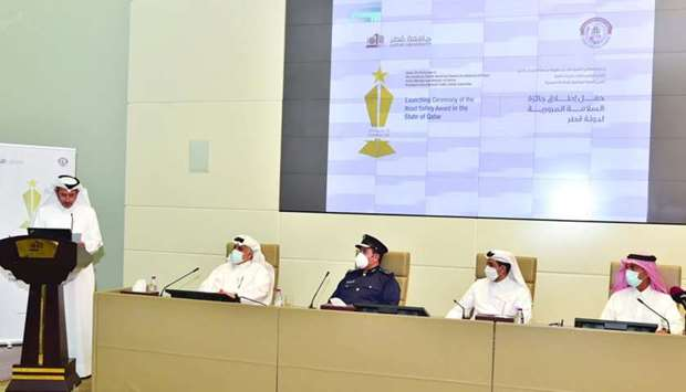 Officials at the launch of the National Traffic Safety Award for the State of Qatar.