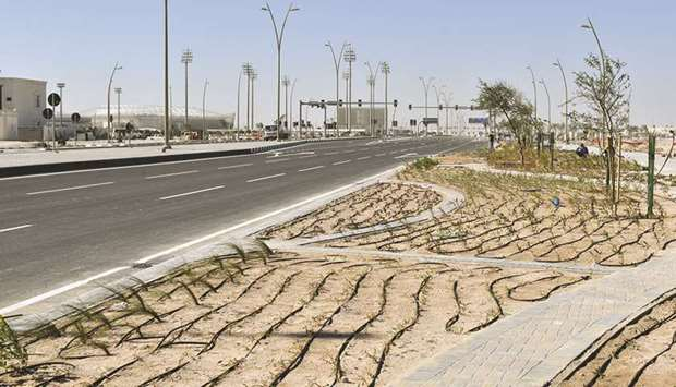 A road to the Ahmed Bin Ali Stadium.