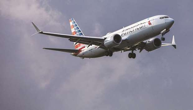 An American Airlines Group Inc 737 MAX 8 landed at New York's LaGuardia Airport at 1:10pm on Tuesday