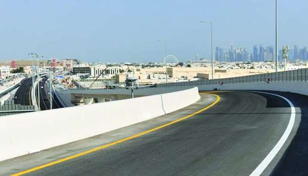 A view of the highest and seventh bridge of the Umm Lekhba Interchange (Landmark).