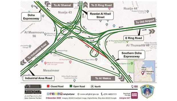 Road users heading towards Al Wakra from the Industrial Area can use the underpass towards E-Ring ro
