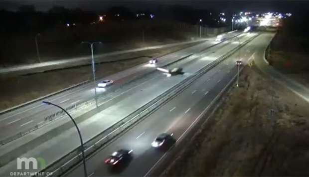An image grab from a video posted on Twitter by the Minnesota Department of Transportation shows the