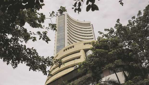 The Bombay Stock Exchange building in Mumbai. The BSE Sensex closed up 446.90 points to 45,079.55 on