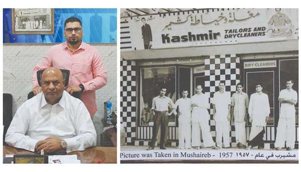Owner Abdul Majeed with his son Faisal (right photo) and an old photo of Kashmir Fashion Tailors.